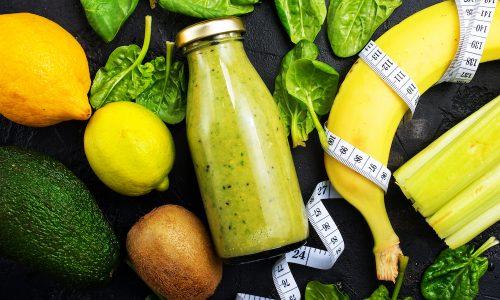 detox drink in glass bottle, fresh drink, stock photo