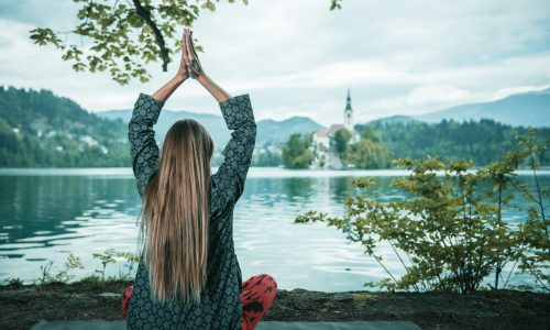 Meditating by the lake